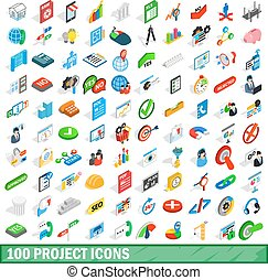 100 project icons set, isometric 3d style