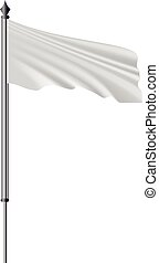 White flag on flagpole flying in the wind mockup. Realistic...