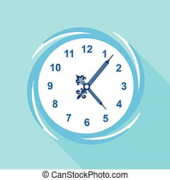 Numbered clock icon, flat style - Numbered clock icon. Flat...