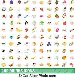 100 drinks icons set, isometric 3d style - 100 drinks icons...