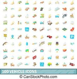 100 vehicle icons set, cartoon style - 100 vehicle icons set...