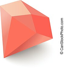 Ruby icon, isometric 3d style - Ruby icon. Isometric 3d...