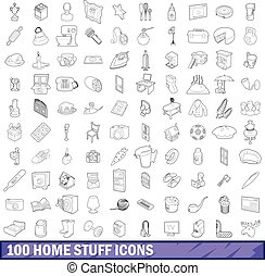 100 home stuff icons set, outline style