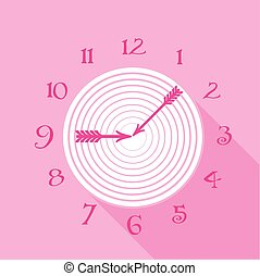 Pink wall clock icon, flat style - Pink wall clock icon....