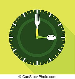 Green clock face icon, flat style - Green clock face icon....