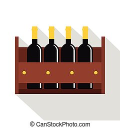 Wine bottles in a wooden crate icon, flat style - Wine...