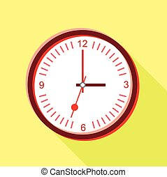 Clock face with red numbers icon, flat style - Clock face...