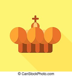 Crown pope icon, flat style - Crown pope icon. Flat...