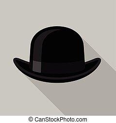 Black bowler hat icon, flat style
