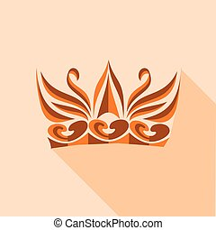 Decorative crown icon, flat style