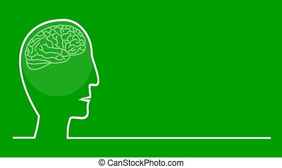 Think green, animated illustration in line art style, head...