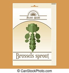 Brussels Sprout seed pack - Vector image of the Brussels...