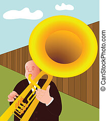 trumpeter - vector - Illustration of the trumpet player -...