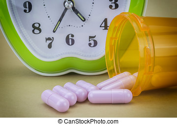 concept for Healthcare And Medicine, a clock marks the time...