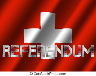 Referendum text of votes on rippled Swiss flag illustration