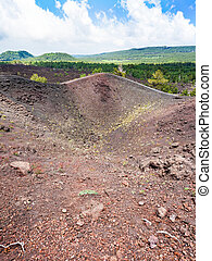 view of old volcano crater of the Etna mount
