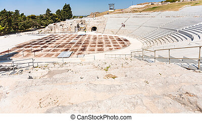 ancient Greek theater in Syracuse city in Sicily - travel to...