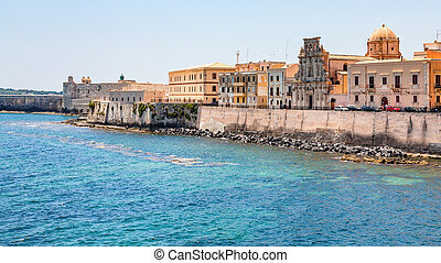 embankment in Syracuse city in Sicily - travel to Italy -...