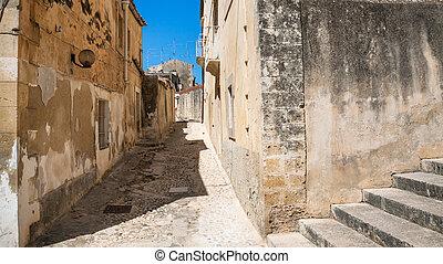 narrow street in Noto city - travel to Italy - narrow street...