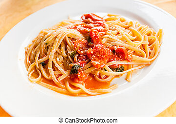 spaghetti with spicy tomato sauce in Sicily