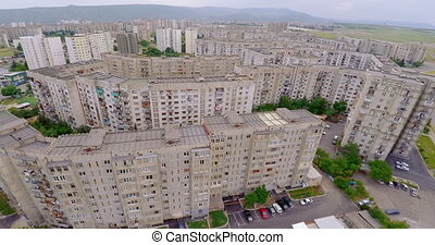 Aerial view of old soviet buildings