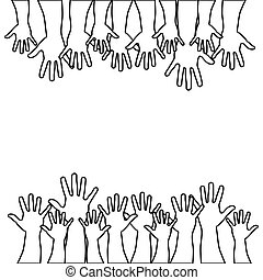 figures hands up icon . Vector illustration