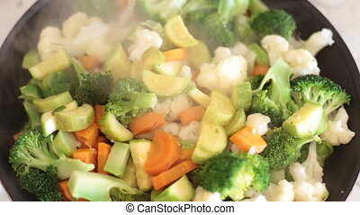Fried vegetables in the pan