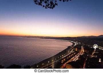 Nice beach night view, France - Nice beach night landscape,...