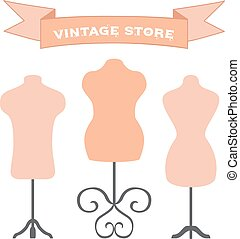 Vector set of mannequins. Manikins for tailors, designers, clothes stores.