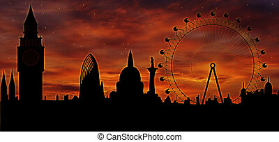 London skyline at dusk - Image of the panorama of London -...
