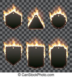 Set of six horizontal frames surrounded with flame - Set of...