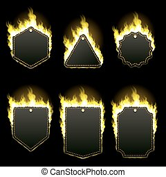 Set of six frames surrounded with yellow flame - Set of six...