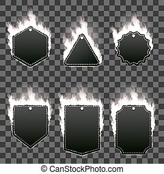 Set of six frames surrounded with white flame - Set of six...