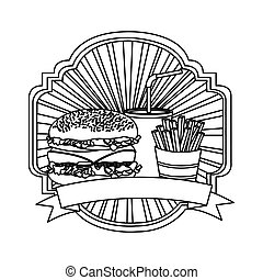 silhouette emblem with hamburger, soda and fries french and ribbon