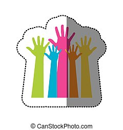 color hands up icon, vector illustration design
