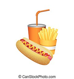 hot dog, fries french and soda food
