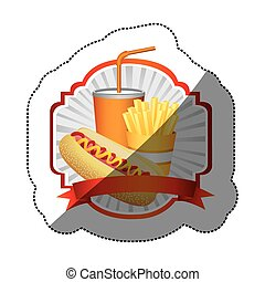 color emblem with hot dog, fries french and soda with ribbon