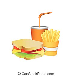 sandwich, fries french and soda food