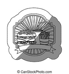 contour emblem with hamburger, soda and fries french and ribbon