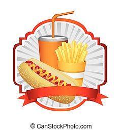 emblem with hot dog, fries french and soda with ribbon