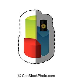 color graph circular statistic with barrel of fuel