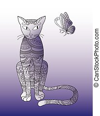 zen patterned cat with butterfly - print with hand drawn...
