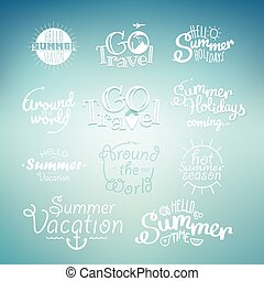 Different summer travel lettering. Many logo on blured...