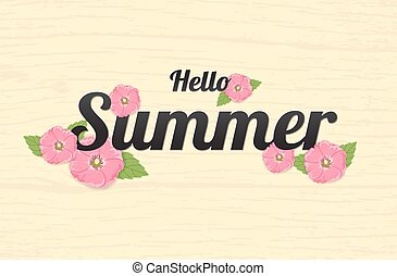 Summer Flowers Background or Summer floral Design on yellow background