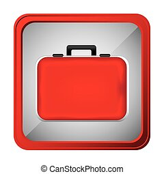 colorful frame square button red firts aid kit and handle