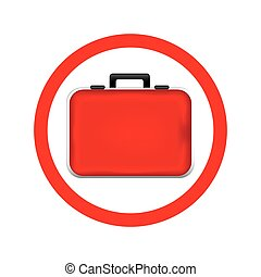 circular frame red firts aid kit and handle