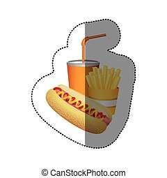 color hot dog, fries french and soda food