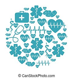 circular pattern blue silhouette health symbol and star of...