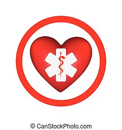 circular frame with heart health symbol with star of life...