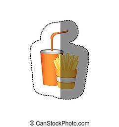color soda and fries french fast food